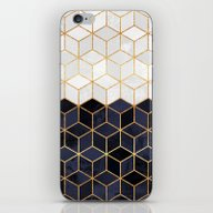 White & Navy Cubes iPhone & iPod Skin
