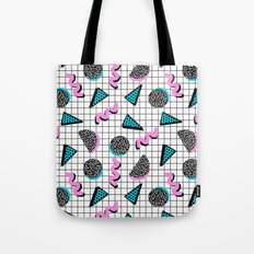 It's Casual - memphis throwback retro neon squiggle grid shapes geometric black and white modern art Tote Bag