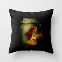 Lost Without You  (Lady In A Jar) Grunge  Throw Pillow