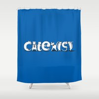 Cat Exist | Coexist Parody Typography Shower Curtain