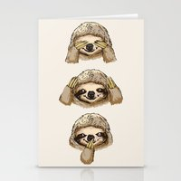 No Evil Sloth Stationery Cards