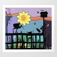 Bayside Sunset Silhouett… Art Print