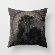 Gothic Friesian Horse Throw Pillow