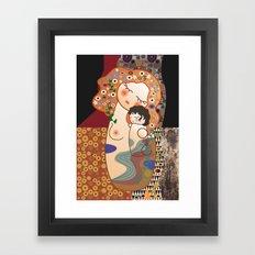 Kokeshi Mother&child  Framed Art Print