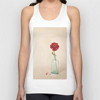 Red Petals - Zinna Still Life Unisex Tank Top
