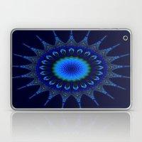 Blue kaleidoscope fractal star Laptop & iPad Skin