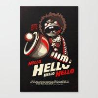 HELLO! HELLO! (black) Canvas Print