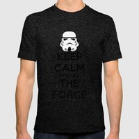 Keep Calm And Use The Fo… Mens Fitted Tee Tri-Black SMALL