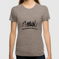 Music Womens Fitted Tee Tri-Coffee SMALL