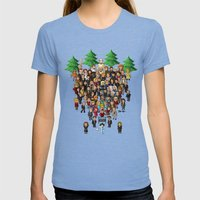 Super Twin Peaks Womens Fitted Tee Tri-Blue SMALL