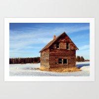 Empty Log Farm House Art Print