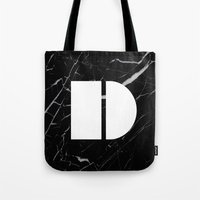 Black Marble - Alphabet D Tote Bag