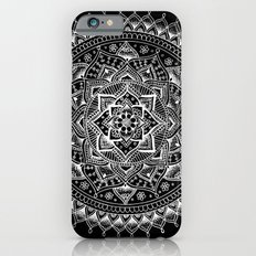 White Flower Mandala on Black iPhone 6 Slim Case