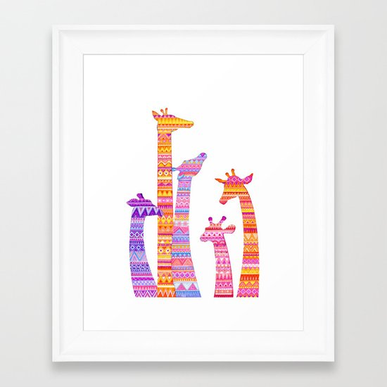 Giraffe Silhouettes in Colorful Tribal Print Framed Art Print