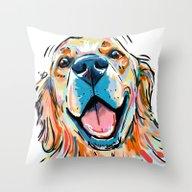 Throw Pillow featuring Smiling Golden Retriever by Cartoon Your Memorie…