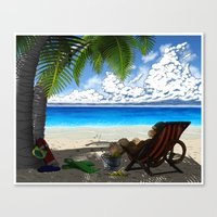 Monkey On The Beach Canvas Print