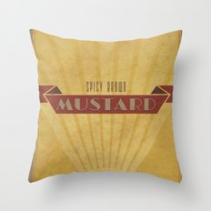 Spicy Brown Mustard Throw Pillow