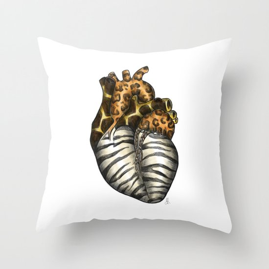 Heart gone wild - color  Throw Pillow