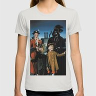 Darth Vader In Mary Popp… Womens Fitted Tee Silver SMALL