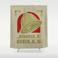 Jingle Bell - Gold Shower Curtain