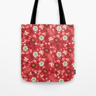 Fresh Blossoms (Reds) Tote Bag