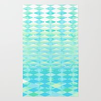 Aqua Watercolor With Ombre Harlequin Pattern Rug