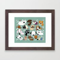 Dog pattern Framed Art Print