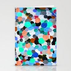Aqua Rainbow Paint Drops Stationery Cards