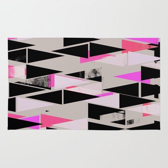Pink Triangles II Area & Throw Rug