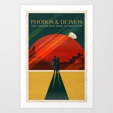 THE MOONS OF MARS - Phobos & Deimos | Space | X | Retro | Vintage | Futurism | Sci-Fi | Two Art Print