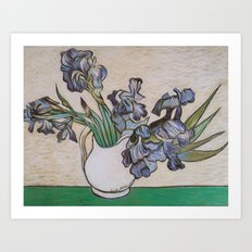 Irises, After Van Gogh Art Print