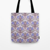 Art Deco Lotus Rising 2 - sage grey & purple pattern Tote Bag