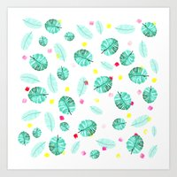 Exotic modern summer green palm tree leaf watercolor pattern brushstrokes Art Print