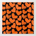 Sketchy hearts in orange and black Canvas Print