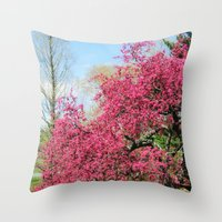 Spring Crabapple Blooms Throw Pillow