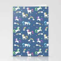 Unicorns and Rainbows - Blue Stationery Cards