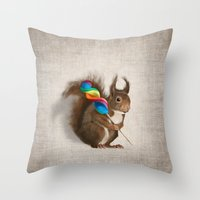 A Funny Squirrel With A … Throw Pillow