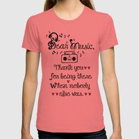 Dear music Womens Fitted Tee Pomegranate SMALL