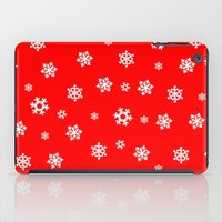 Snowflakes (White on Red) iPad Case