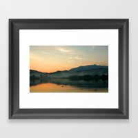 The Lake At Sunset, Kyot… Framed Art Print