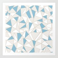 Ab Nude Lines with Blue Blocks Art Print