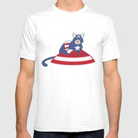 Captain AmeriCAT: The Fi… Mens Fitted Tee White SMALL