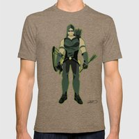 Green Arrow Mens Fitted Tee Tri-Coffee SMALL