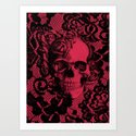 Gothic Lace Skull in red and black. Art Print