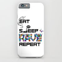 iPhone & iPod Case featuring Eat Sleep RAVE Repeat by Halucinated Design