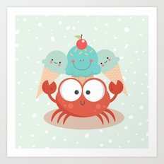 Happy crab Art Print