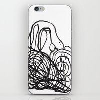Paint 2 abstract black and white minimal brushstroke japanese modern home decor dorm college  iPhone & iPod Skin