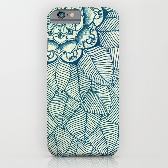 Emerald Green, Navy & Cream Floral & Leaf doodle iPhone & iPod Case