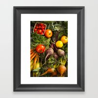 Mixed Organic Vegetables With Tomatoes Beets & Carrots Framed Art Print