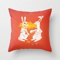 Fire Bunny Throw Pillow